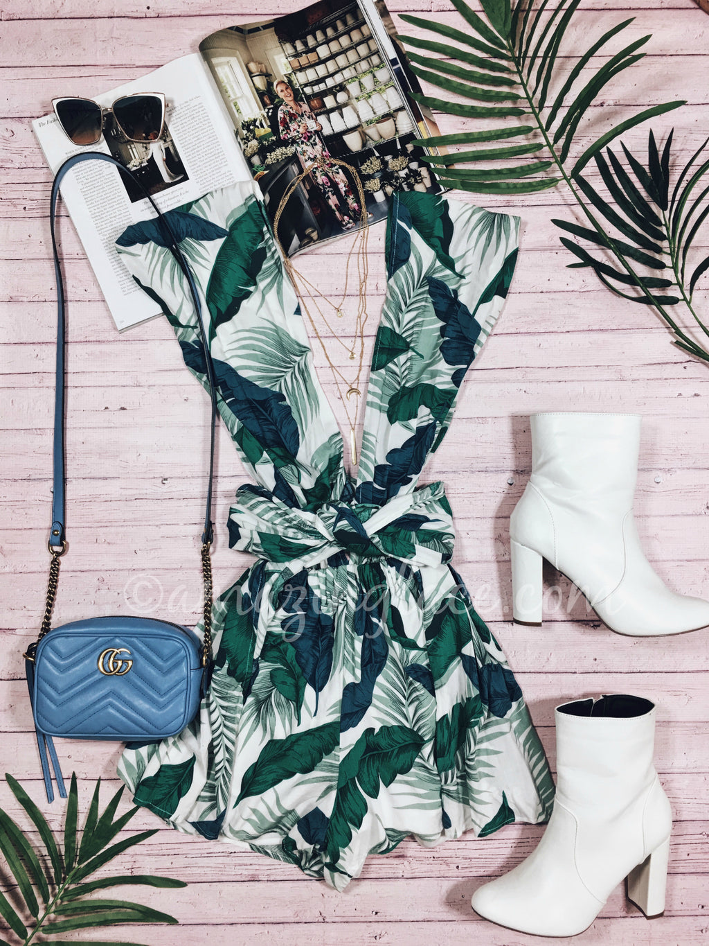 TROPICAL PRINT ROMPER AND BOOTS OUTFIT