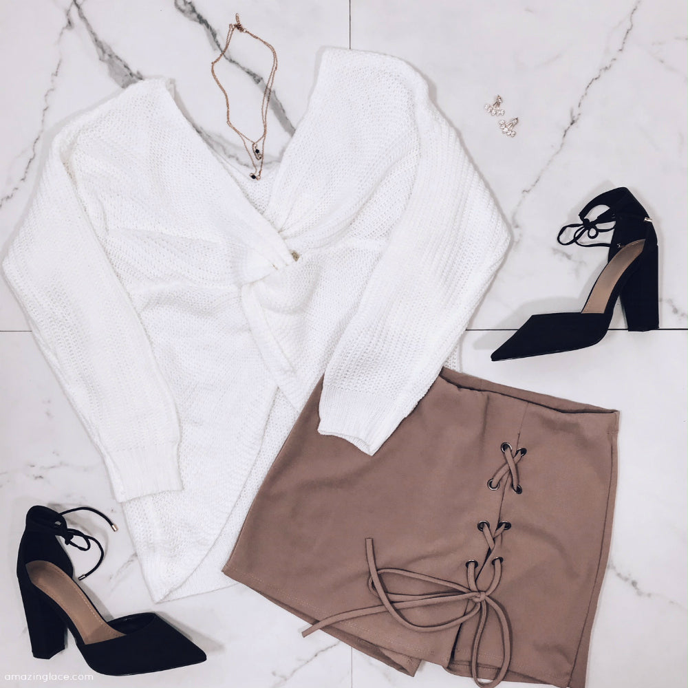 WHITE TWIST BACK SWEATER AND SKORT OUTFIT
