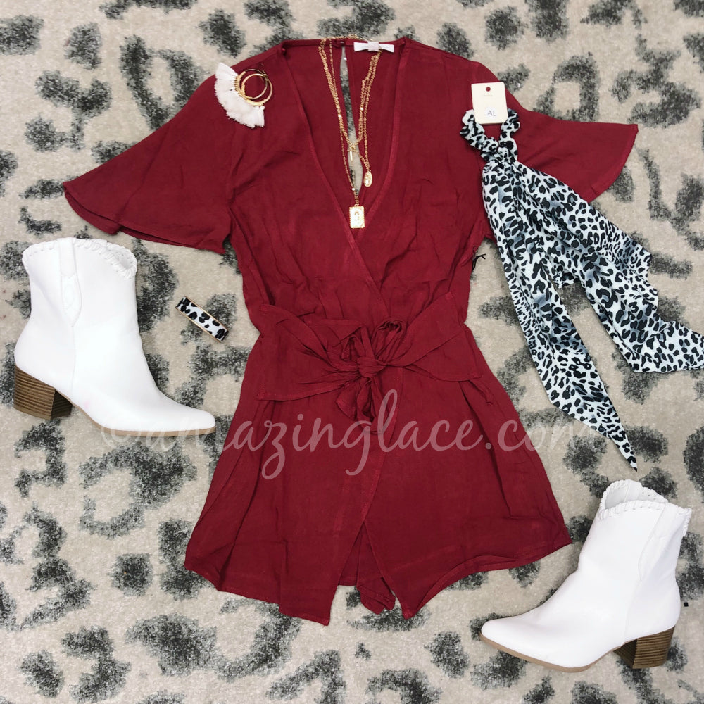 WINE ROMPER AND WHITE WESTERN BOOTIES OUTFIT