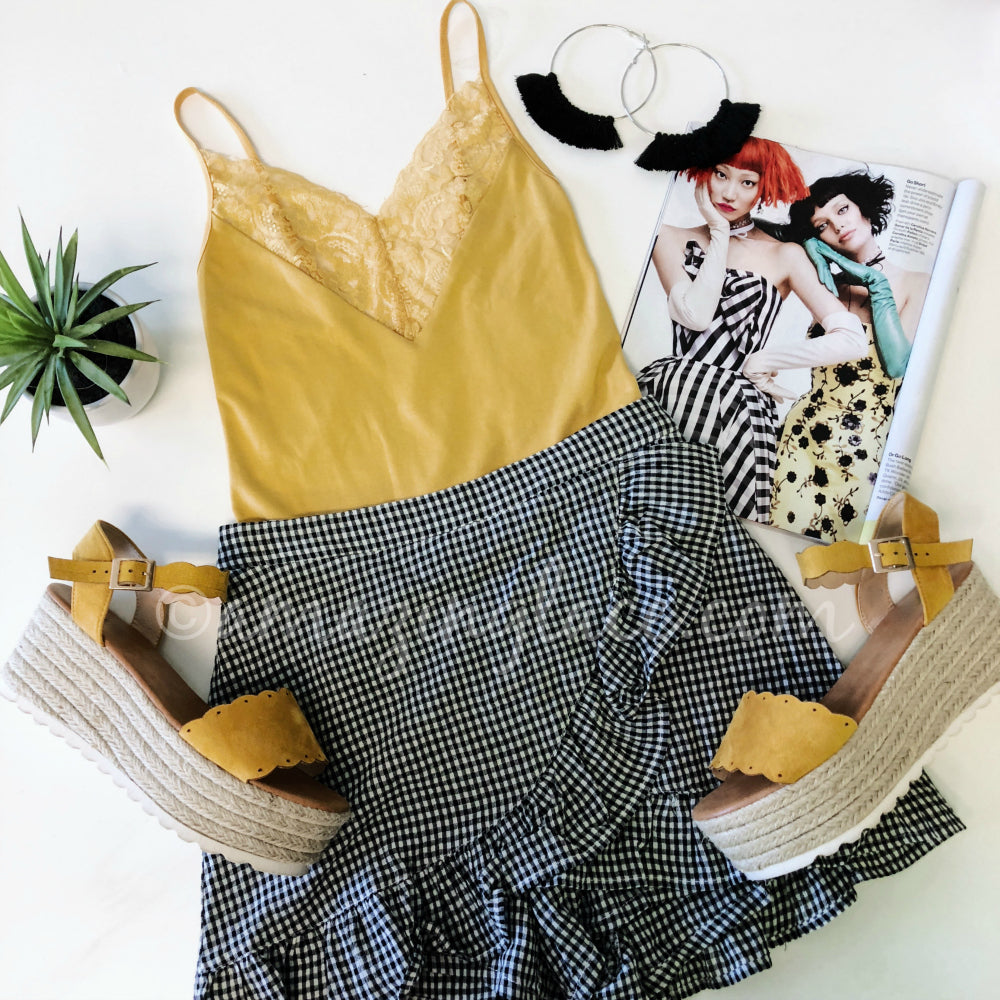 YELLOW BODYSUIT AND GINGHAM SKORT OUTFIT