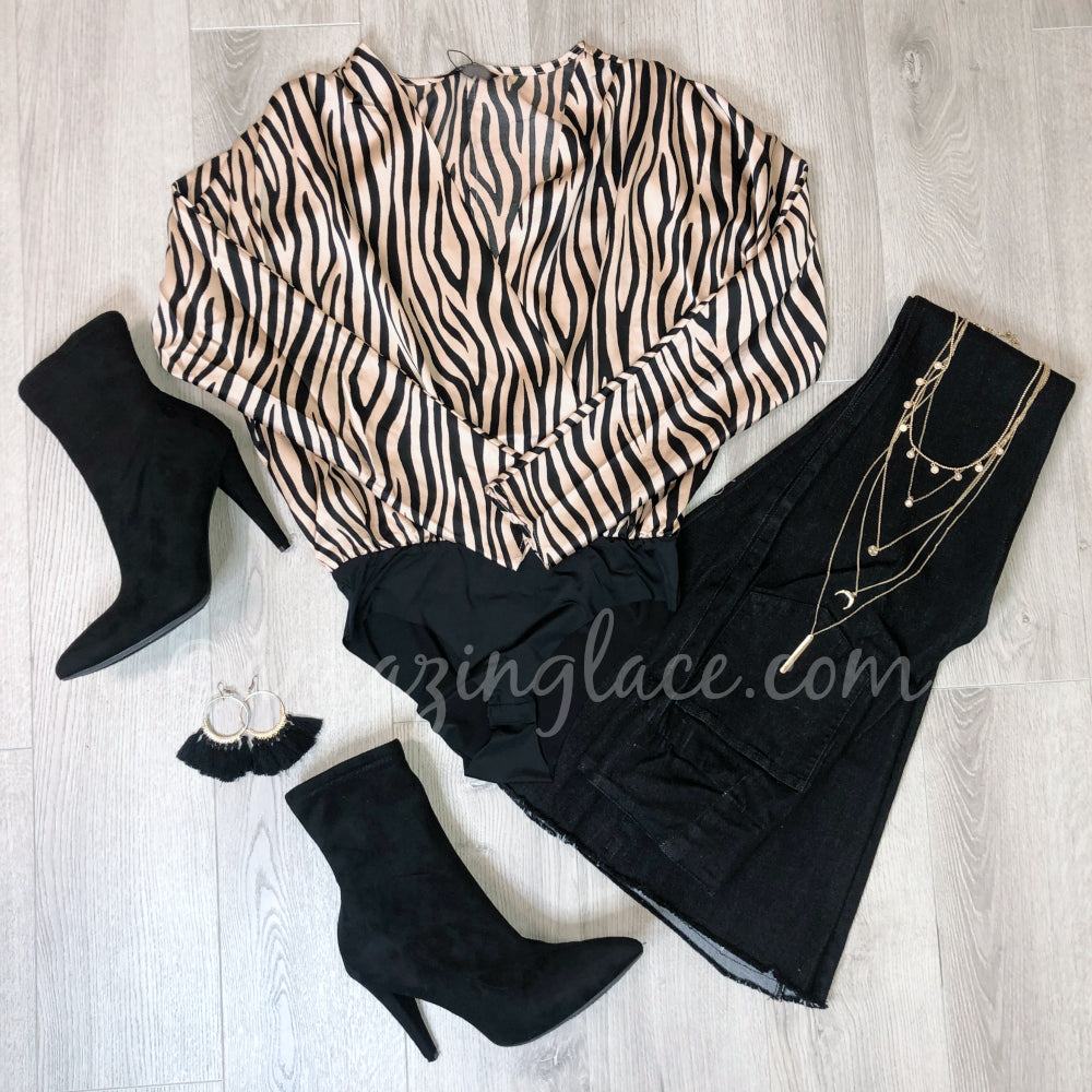 ZEBRA BODYSUIT AND FLARES WITH BLACK BOOTIES OUTFIT