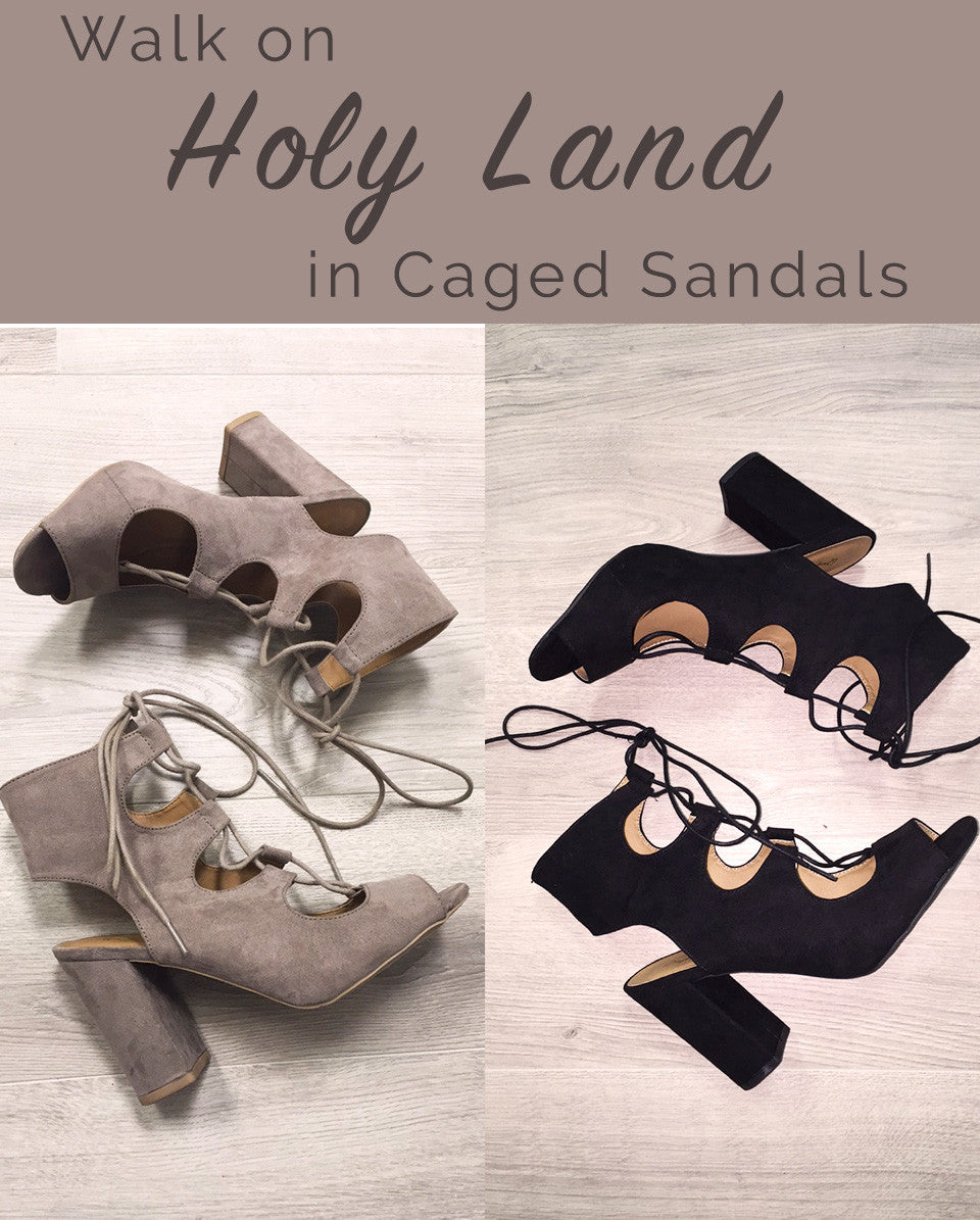 Walk On Holy Land In Caged Sandals