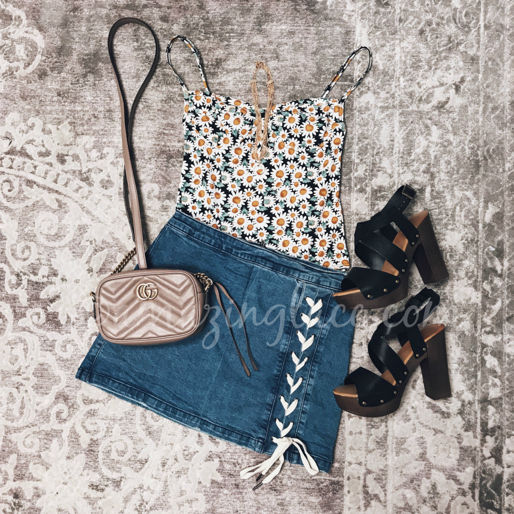 FLORAL BODYSUIT AND LACE UP SKIRT OUTFIT