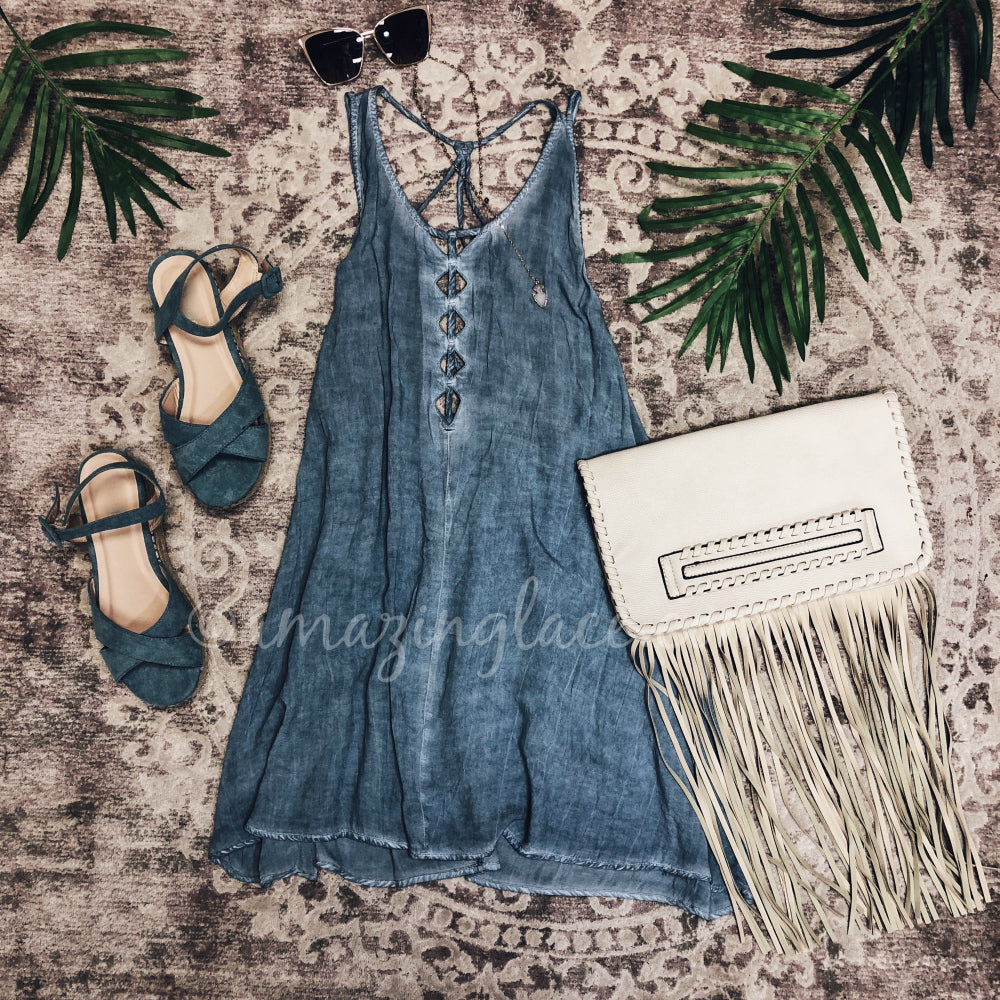 BLUE STRAPPY BACK DRESS AND BLUE ESPADRILLES OUTFIT