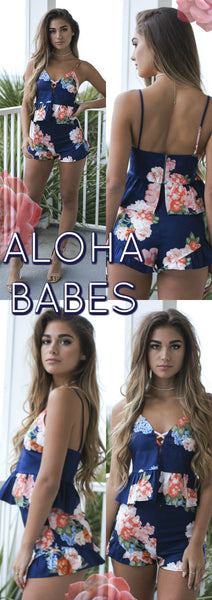 Say Aloha Babes In Our Floral Print Set