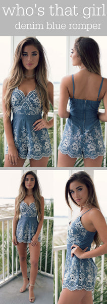 Who's That Girl Denim Romper Is A Must Have