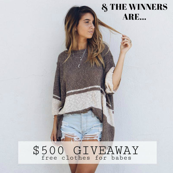 $500 CLOTHING GIVEAWAY CONTEST WINNERS