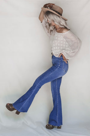 Honey Bee High Waisted Denim Flare Jeans