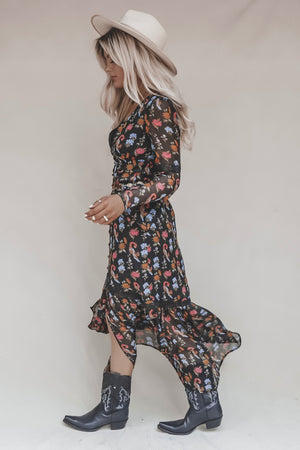 Euphoric Black Floral Boho Gypsy Dress
