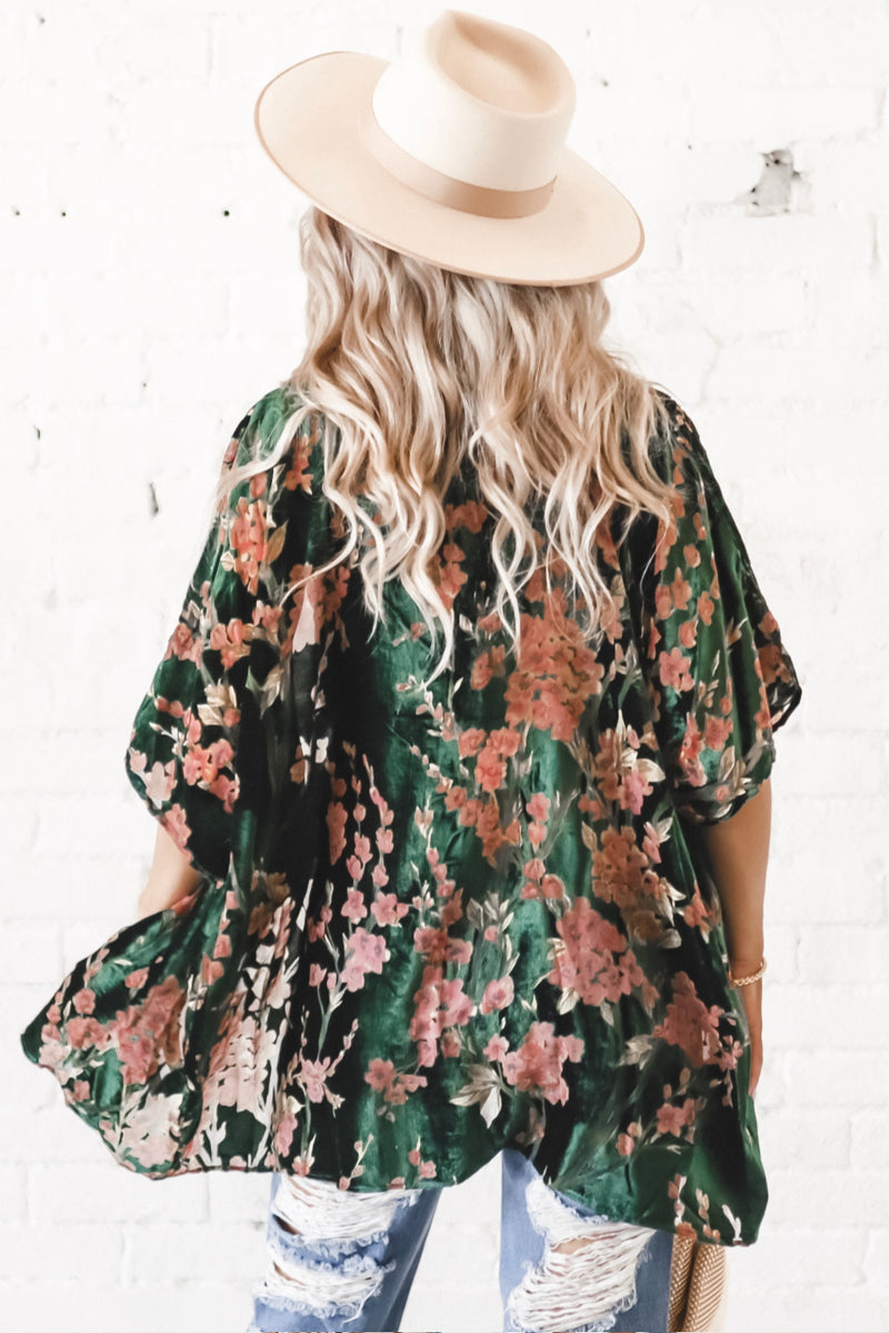 Flower Me With Gifts Green Velvet Floral Kimono