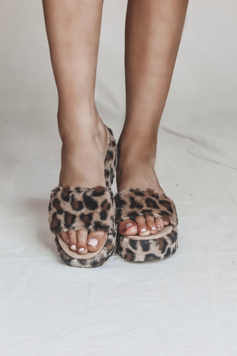 Let's Brunch Leopard Fur Platform Sandals