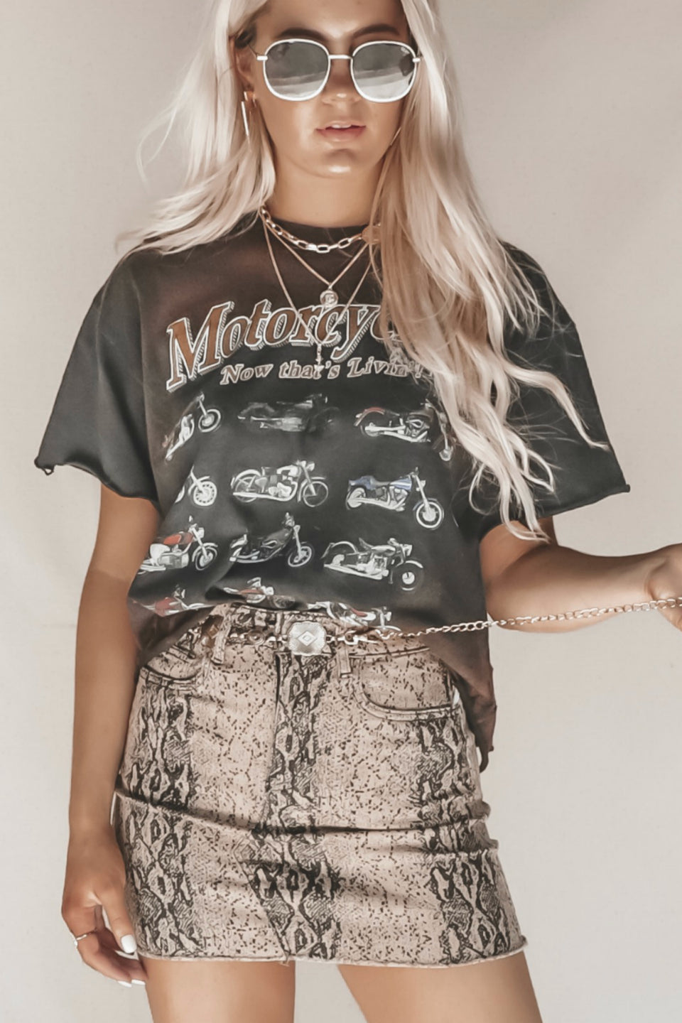 VINTAGE Black Oversized Motorcycle Crop Tee