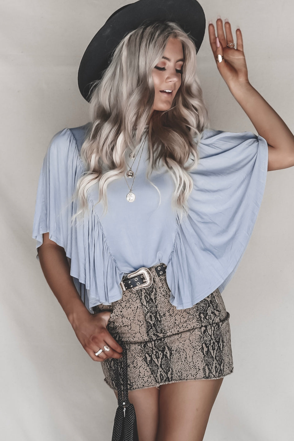 Soho Butterfly Silver Sleeve Top