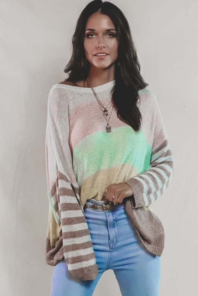 High Tide Brown Striped Knit Pullover