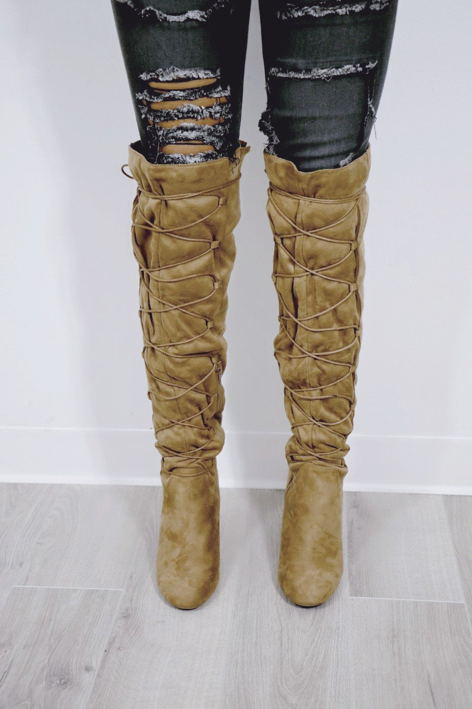 Good To Be Bad Camel Suede Over The Knee Boots - Amazing Lace