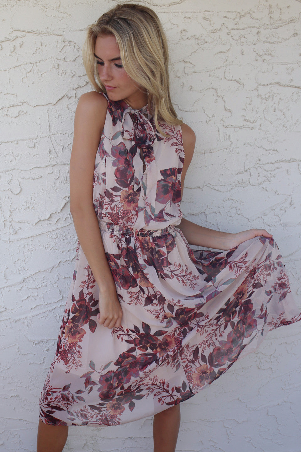 Carefree Floral Taupe Sleeveless Dress - Amazing Lace