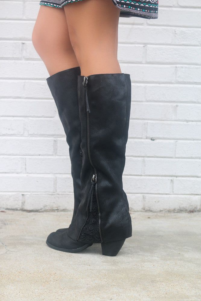 d40619cf2168 ... NOT RATED Celestial Falls Black Heeled Boots With Scalloped Lace Detail  - Amazing Lace
