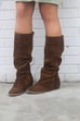 Naughty Monkey Arctic Solstice Brown Genuine Suede Tall Equestrian Boots - Amazing Lace