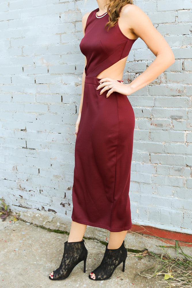 Burgundy Sleeveless Midi Dress With Cutout Back - Amazing Lace