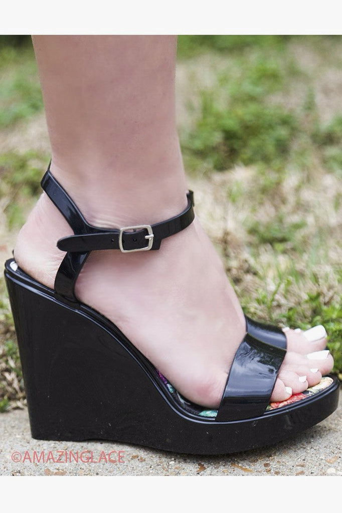 Save The Last Dance Black Jelly Wedge Sandals With Ankle Strap - Amazing Lace