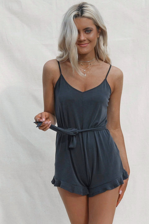 This Side Black Ruffle Romper