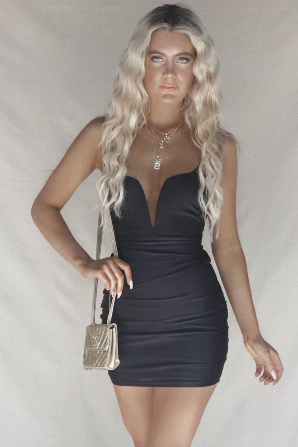 Unbroken Black V Wire Mini Dress