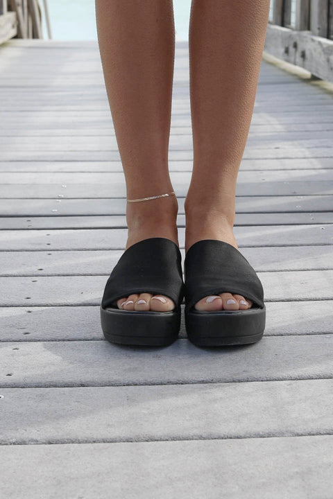 The Hideaway Black Platform Slides