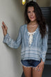 Happy Now Washed Denim Lace Up Top - Amazing Lace