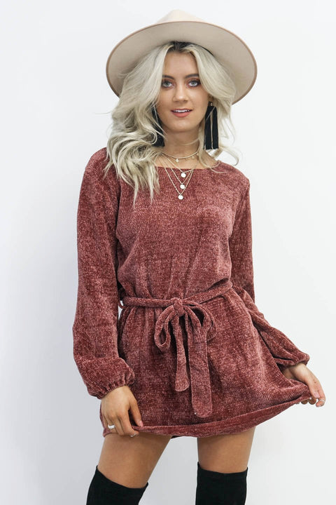 Yes Indeed Cocoa Chenille Sweater Belt Dress