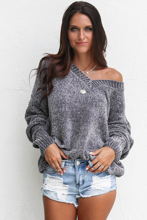Down Time Oversized Gray Chenille V-Neck Sweater