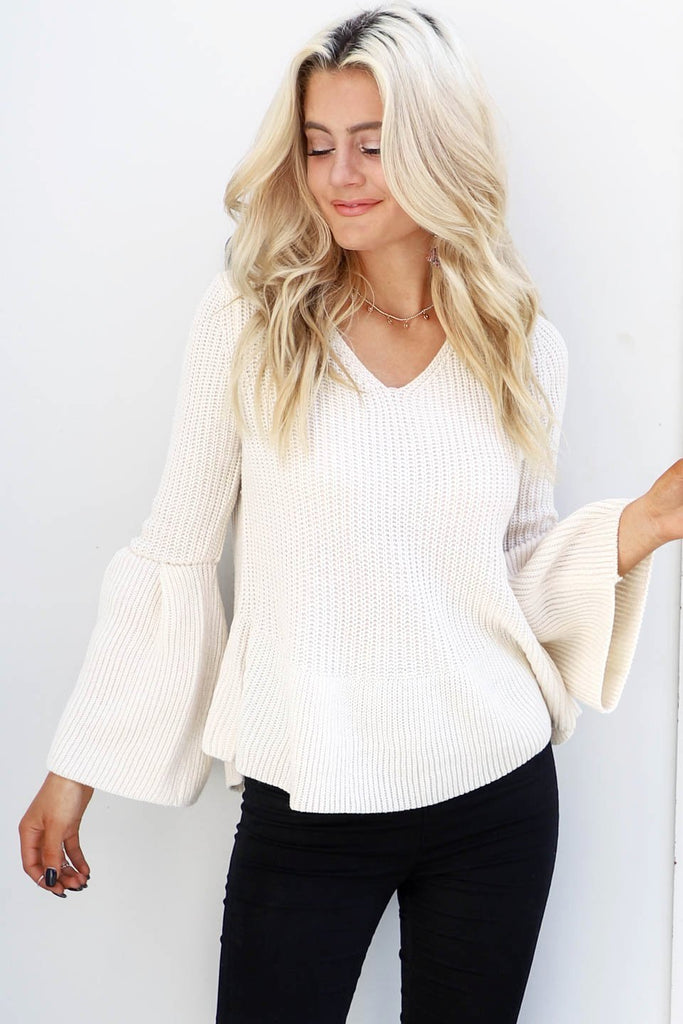 Glory Days Oatmeal Sweater Flare Sleeves