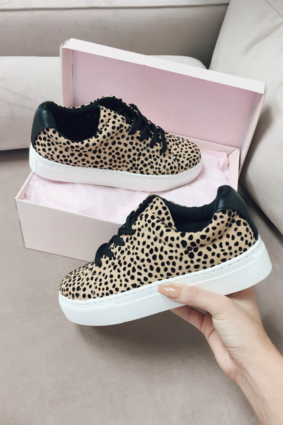 Inside Out Tan Leopard Platform Sneakers