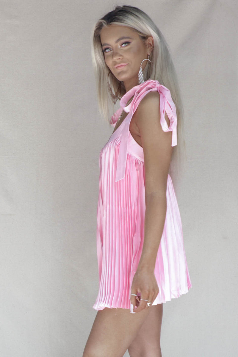 Helena Bay Hot Pink Silk Pleated Romper