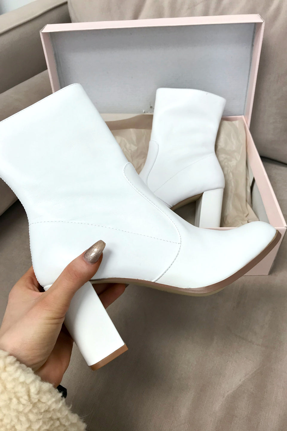 CHINESE LAUNDRY Crushing White Block Heel Bootie