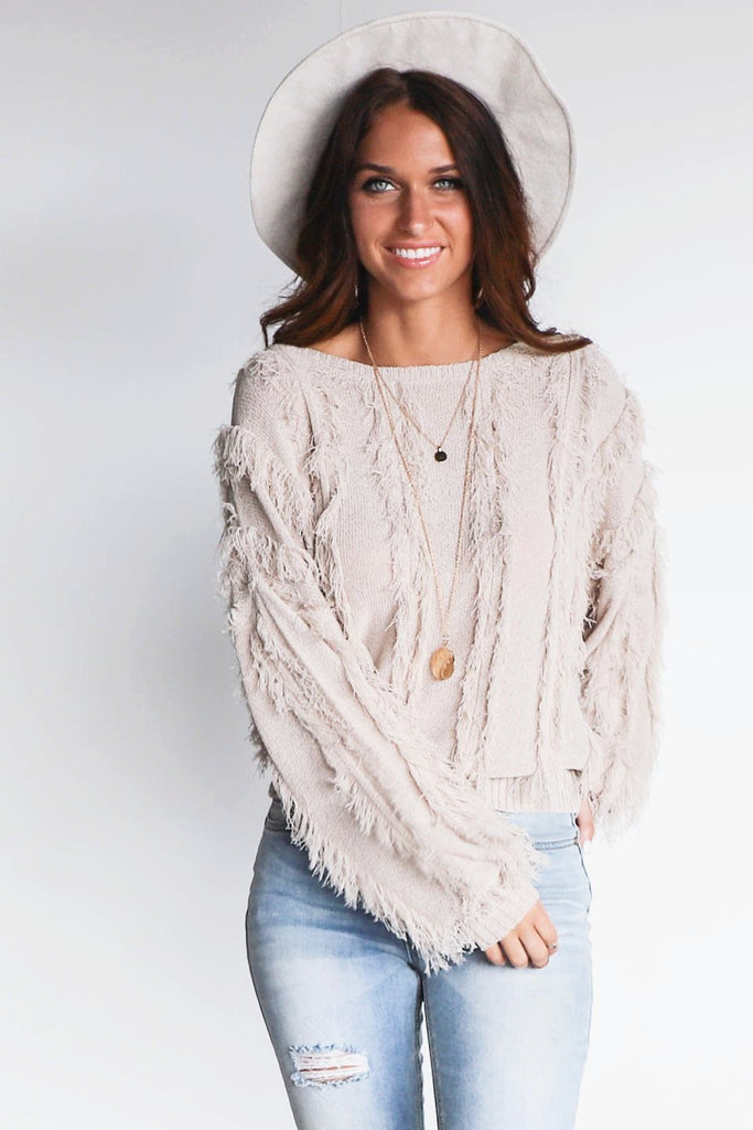CHASER Pink Sands Blouson Sleeve Shag Sweater