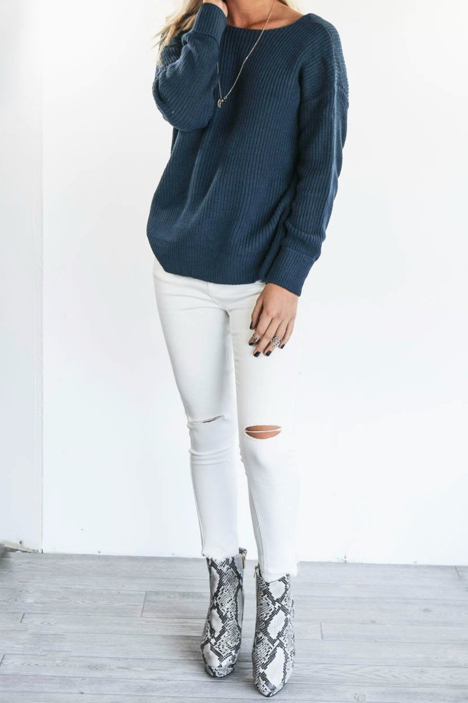 Let You Stay White Ripped Knee Skinny Jean - Amazing Lace
