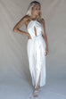 Fall Harder White Keyhole Halter Jumpsuit
