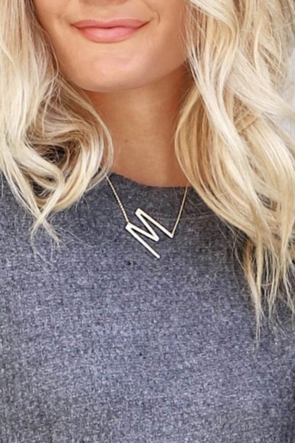 Gold Oversized Initial Necklace