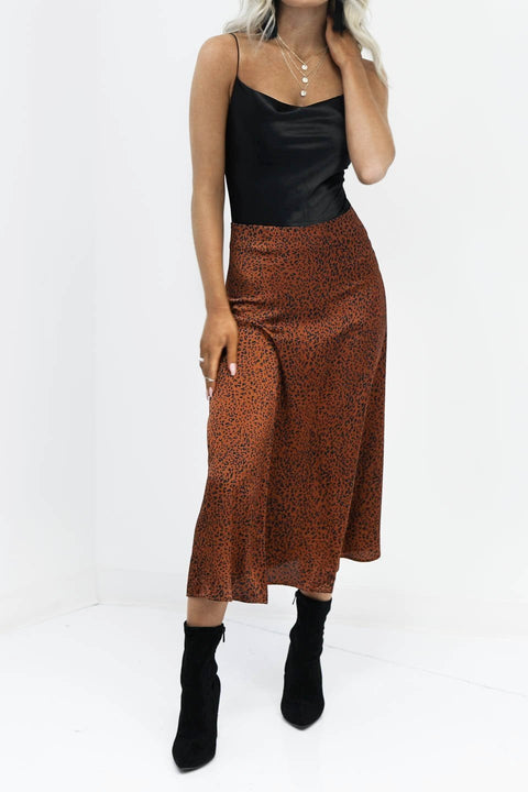 Hands On Brown Leopard Print Midi Skirt