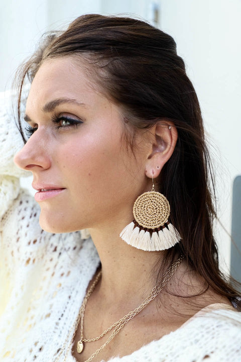 Dream Catcher Ivory Tassel Earrings