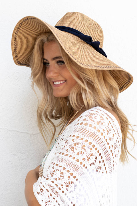 Tan With Navy Bow Hat