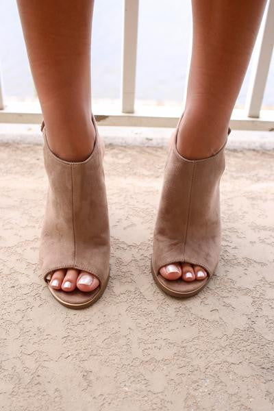 Stop And Stare Taupe Suede Open Toe Booties - Reviews 3b5e3381ae92