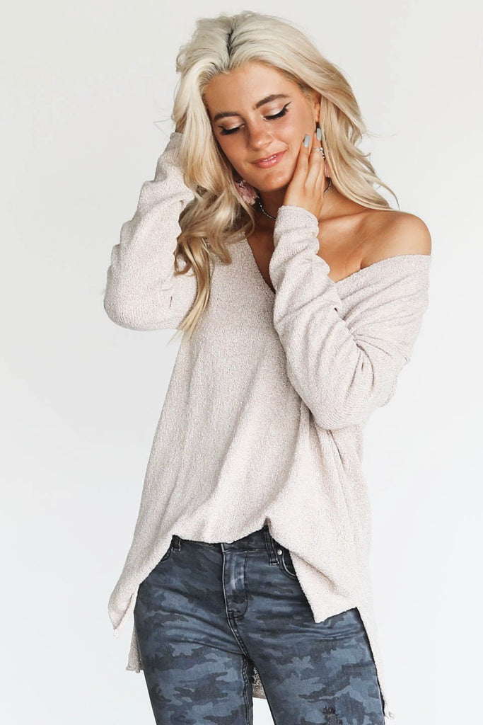 True Meaning Taupe V-Neck Sweater Pullover