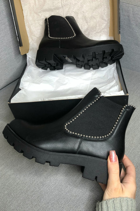 About Time Black Studded Platform Ankle Booties