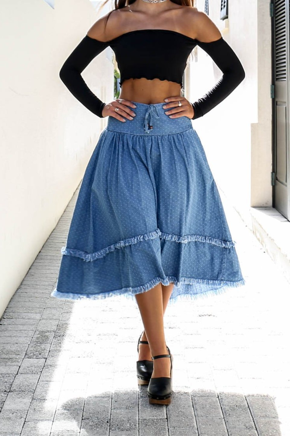 Delicate Love Denim Skirt - Amazing Lace
