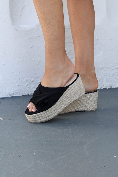 Feeling Fine Black Platform Espadrille Sandals