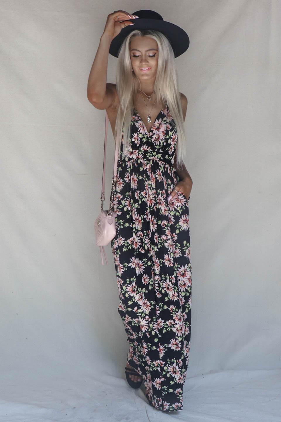 Early Rise Black Floral Maxi Dress