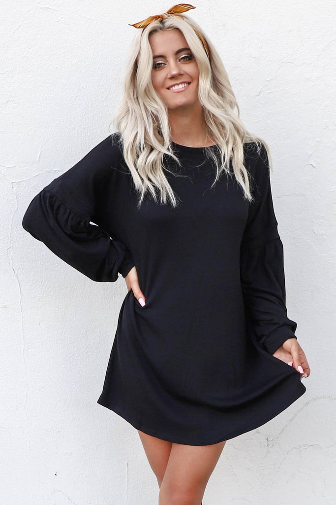 Fun One Long Sleeve Black T Shirt Dress