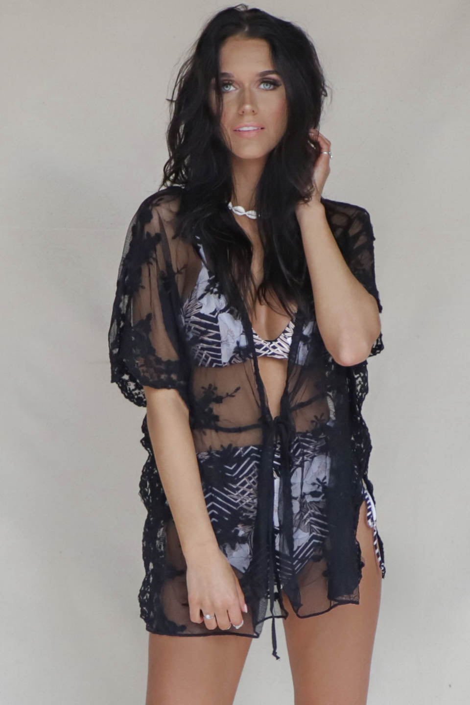 Well Wishes Black Lace Sheer Kimono