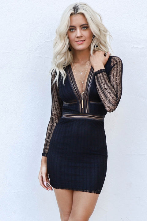 Before Tomorrow Black Mesh Mini Dress